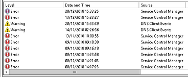 Windows Server logs - lots of errors