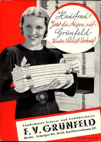 Werbekarte 1937, des Textil - Kaufhaus F. V. Grünfeld.