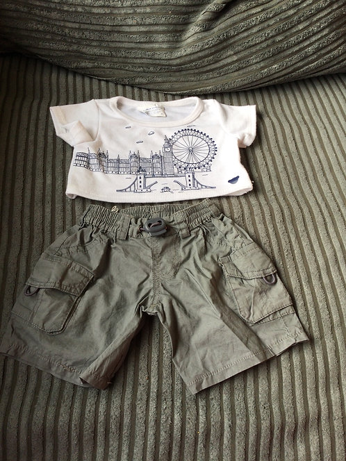 Build a bear Outfit London T-shirt and shorts