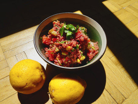 Pink couscous salad