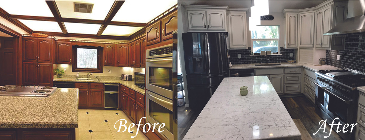 Kitchen side 1 - Before and After