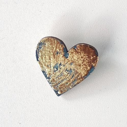 Broche coeur bleu canard