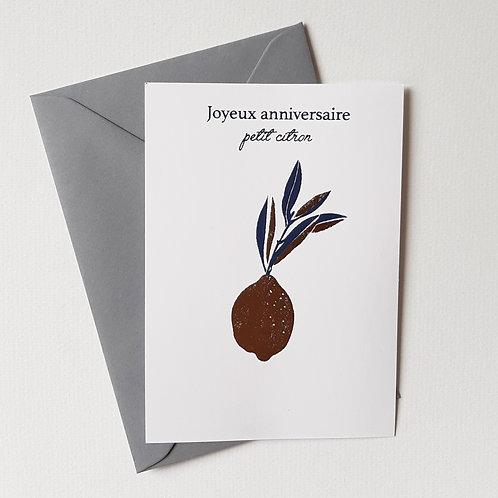 Carte citron Joyeux Anniversaire or