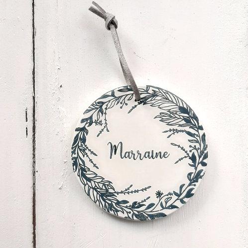 Médaillon Marraine bleu canard