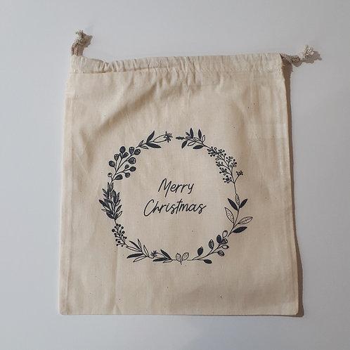 Pochon Noël bleu/gris