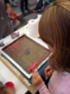 Atelier de sérigraphie enfants Lyon