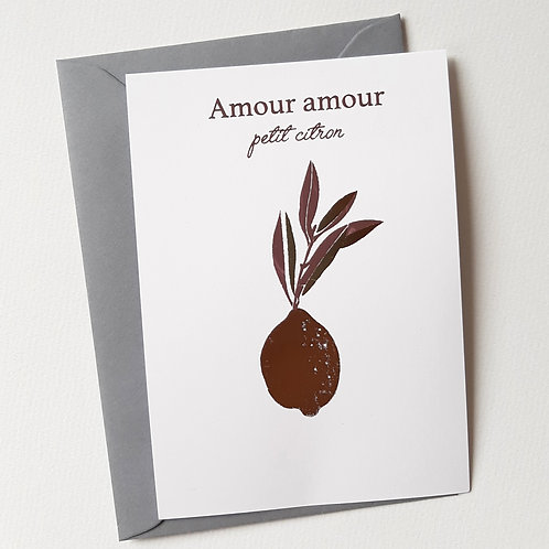 Carte citron Amour amour or