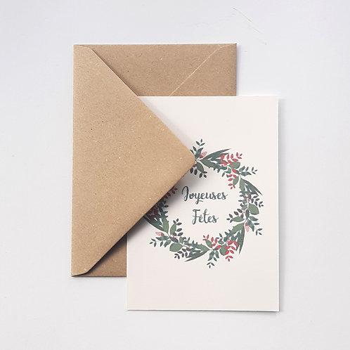 Carte couronne de Noël