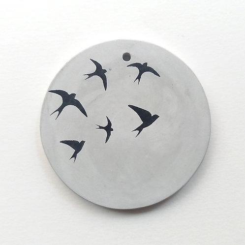 Médaillon gris Hirondelles