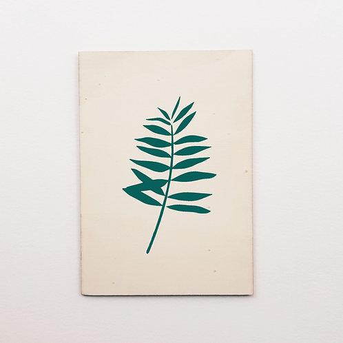 P-Carte bois palmier Bleu canard