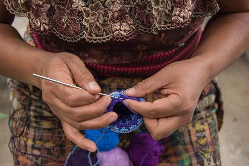 Mayan Artisan Making Handmade Crochet Ball