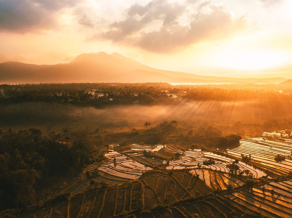 Drone view of Sideman Rice Terrace during sunset with Mt. Agung in the background