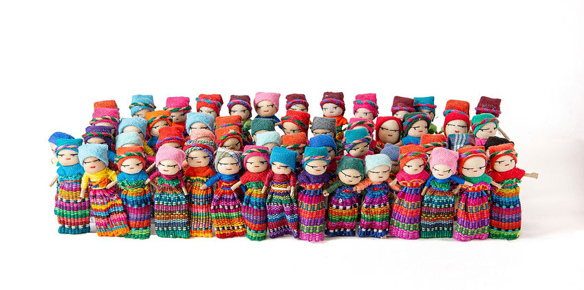 50 Worry Dolls standing up