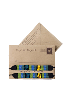 2 Handmade Friendship Bracelets on Mayan Postcard Packaging