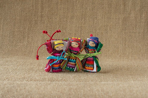 3 Handmade Worry Dolls Crafted By Mayan Artisans