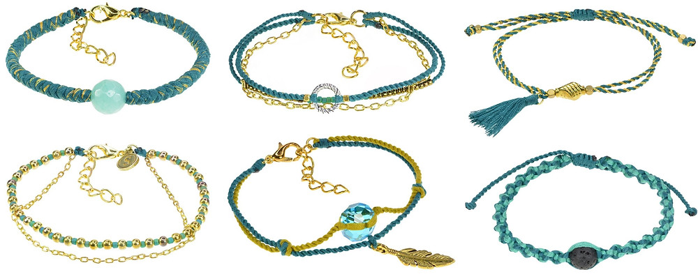 6 handmade bracelets with gold accents by Susila Jewelry