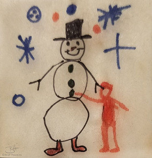 Snowman (created: age 5), marker on Shrinky Dink