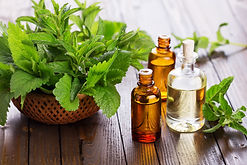 Essential aroma oil with peppermint  on