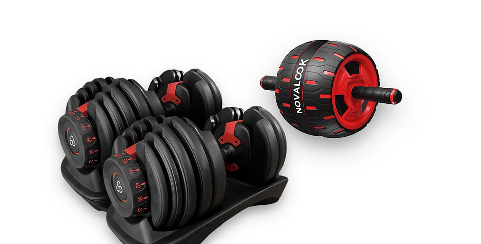 Novalook Adjustable 52.5LB Dumbbell Pair + Novalook Ab Roller