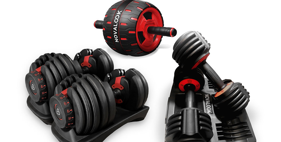 Novalook Adjustable 52.5LB Dumbbell Pair + 12.5LB Dumbbell Pair + Ab Roller