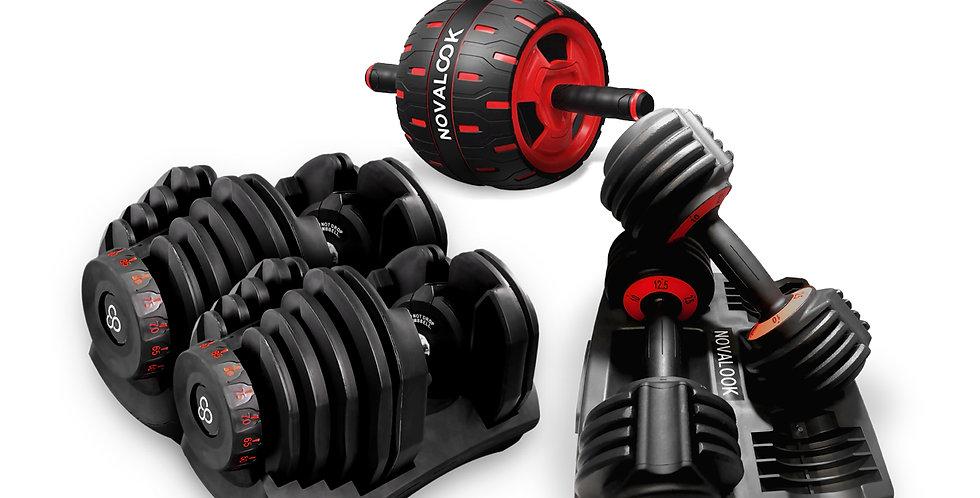 Novalook Adjustable 90LB Dumbbell Pair + 12.5LB Dumbbell Pair + Ab Rolller