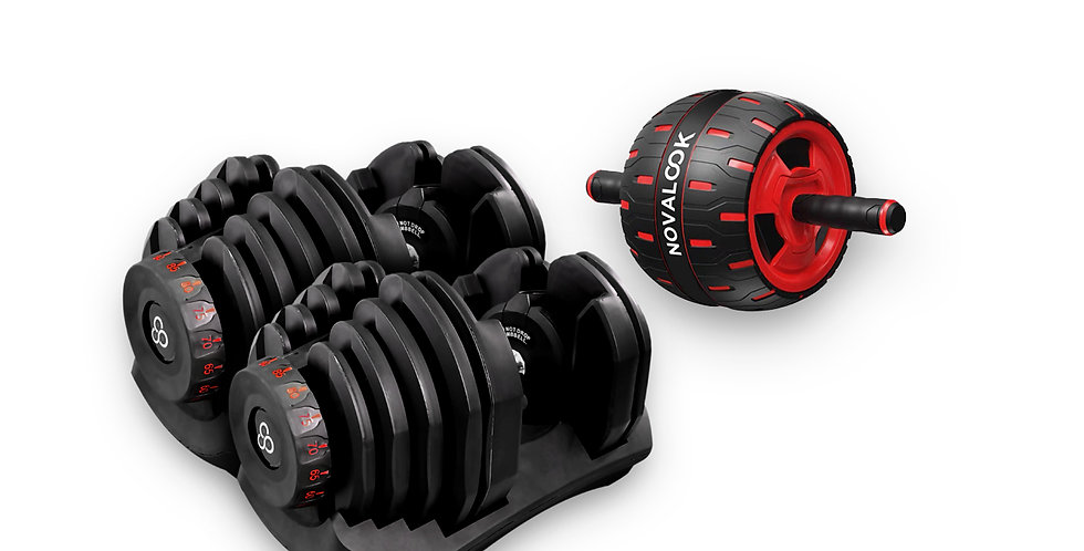 Novalook Adjustable 90LB Dumbbell Pair + Novalook Ab Roller