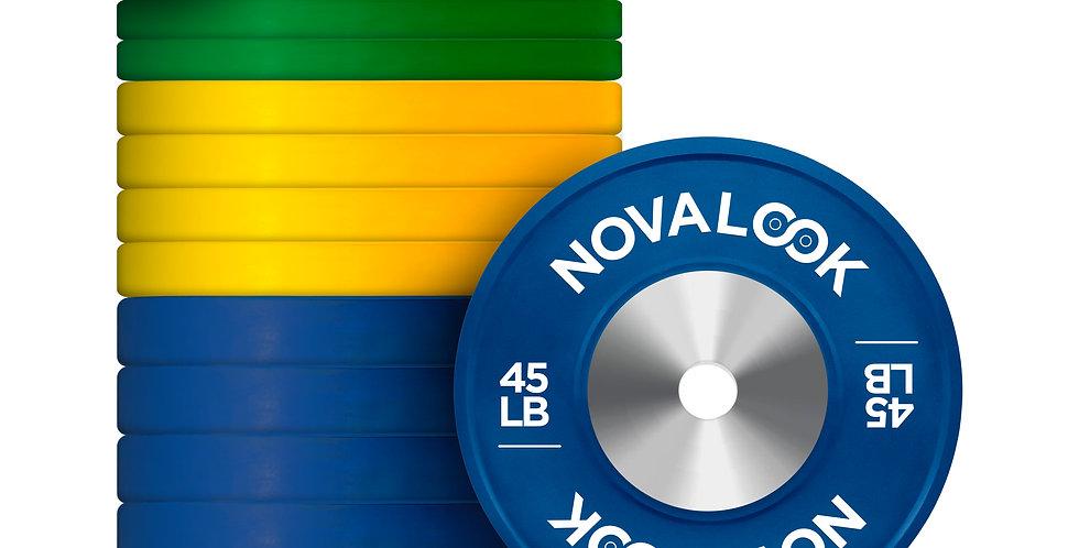 550LB Novalook Competition Bumper Plate Set  + 325C Adjustable Dumbbells