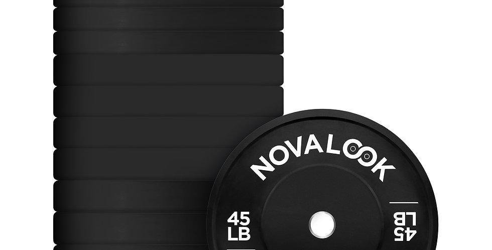 550LB Novalook 2.0 Bumper Plate Set w/ Free Plate Rack