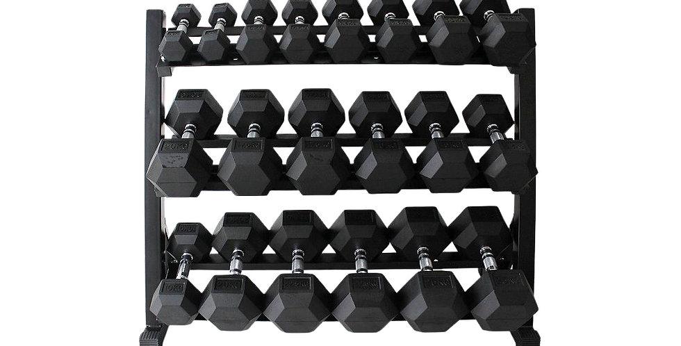 Novalook 5-50LB Hex Dumbbell Set + Rack