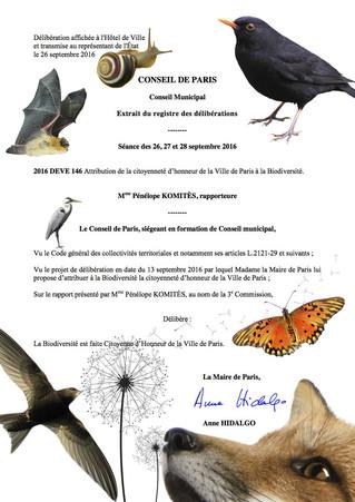 Et Paris attribua la citoyenneté (d'honneur) à la Biodiversité!