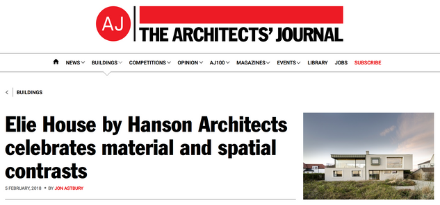 Feb 18 - Elie House published on the Architect's Journal Website