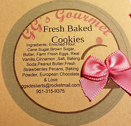 GG's Gourmet Cookie ingredient list