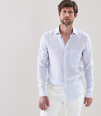 LUTHER: STRIPED LINEN SHIRT SOFT BLUE