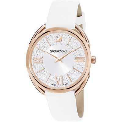 Crystalline Glam Watch, Leather Strap
