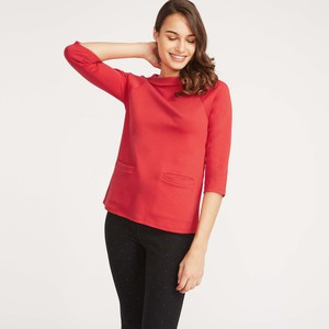 Red Ponte Bardot Neck Top