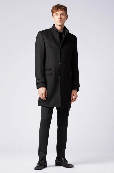 Stand-collar coat in virgin wool