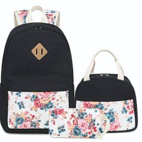 School Backpacks for Teen Girls Lightweight Canvas Backpack Bookbags Set (Floral Black)