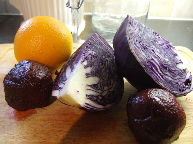 Red Cabbage, beetroot and Orange Sauerkraut