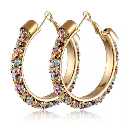 Блестящие модные серьги-кольца