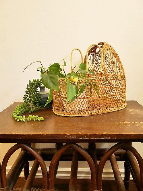 Vintage Rattan Plant Bassinet