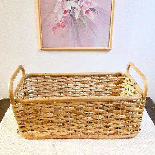 Vintage Rattan Rectangular Plant Basket/ Wall Shelf