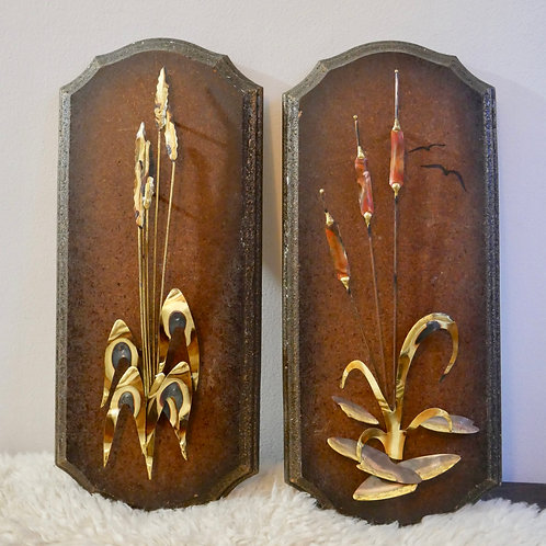 Vintage 70's Iron on Wood Cattails Sculpture Wall Decor