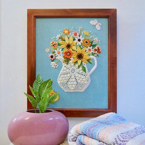 Vintage Framed Crewel Floral Art