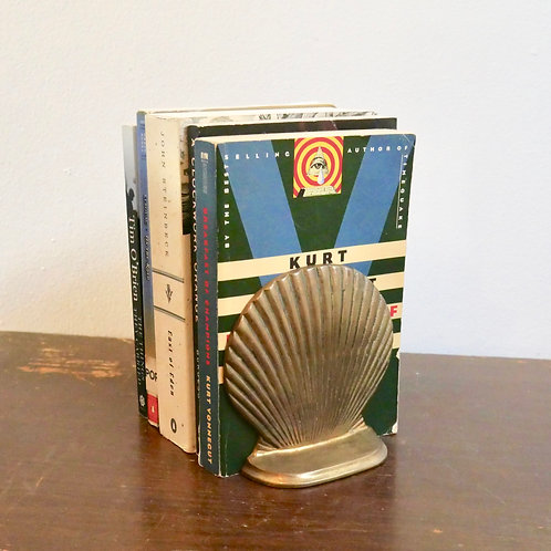 Vintage Brass Seashell Book Ends