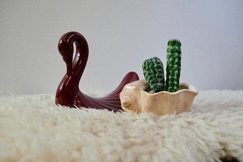 Plum Ceramic Swan Decor
