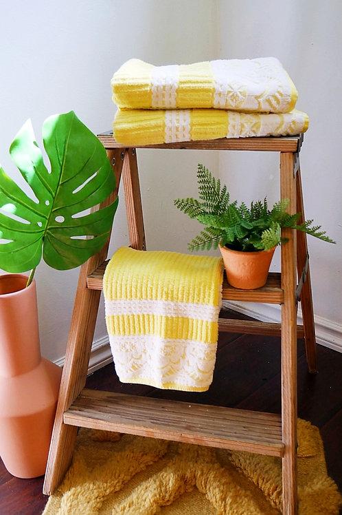 2+1 Vintage Yellow 70's Towel Set