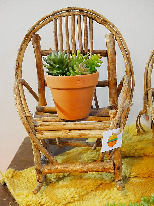 Vintage Rustic Wooden Rocking Chair Plant Stand (Large)