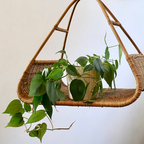Set of 3 Vintage Rattan Baskets/  Hanging Plant Shelves
