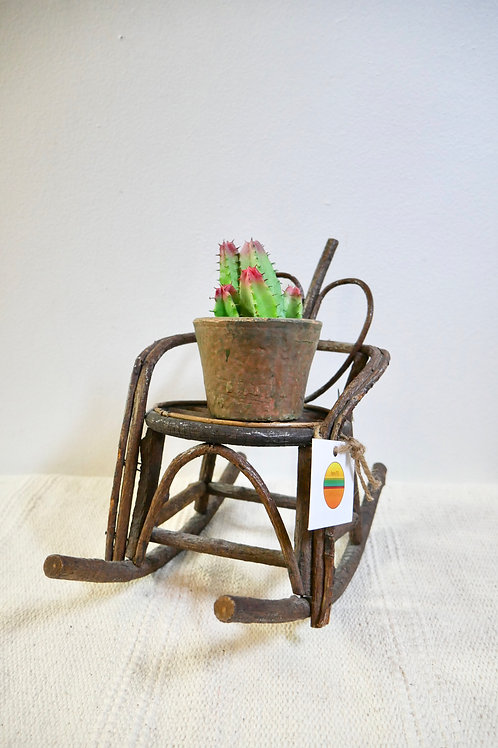 Vintage Rustic Wood Heart Rocking Chair Plant Stand