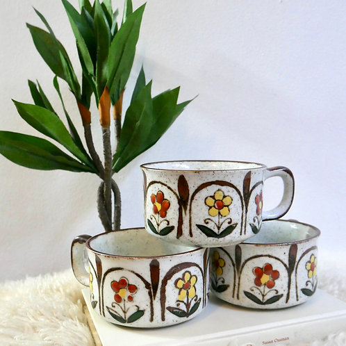 Set of 3 Floral Handmade Stoneware Soup Mugs